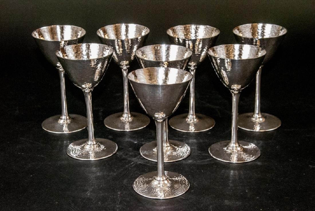 Set of Hammered Finish Silver Plate Martini Stems - 3