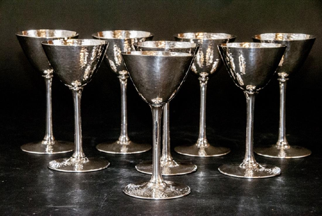 Set of Hammered Finish Silver Plate Martini Stems - 5