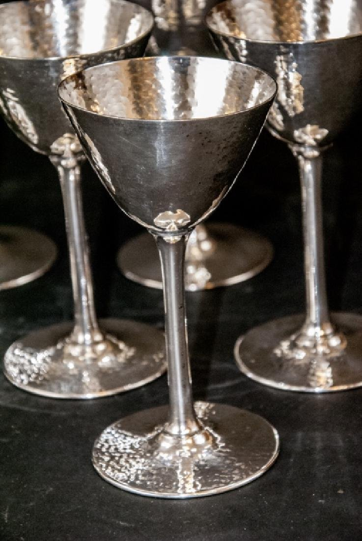 Set of Hammered Finish Silver Plate Martini Stems - 7