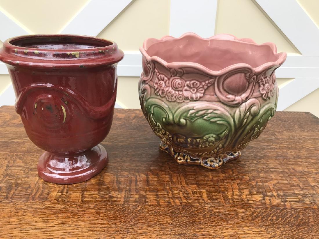Majolica Cache Pot & Neo Classical Urn Form Pot