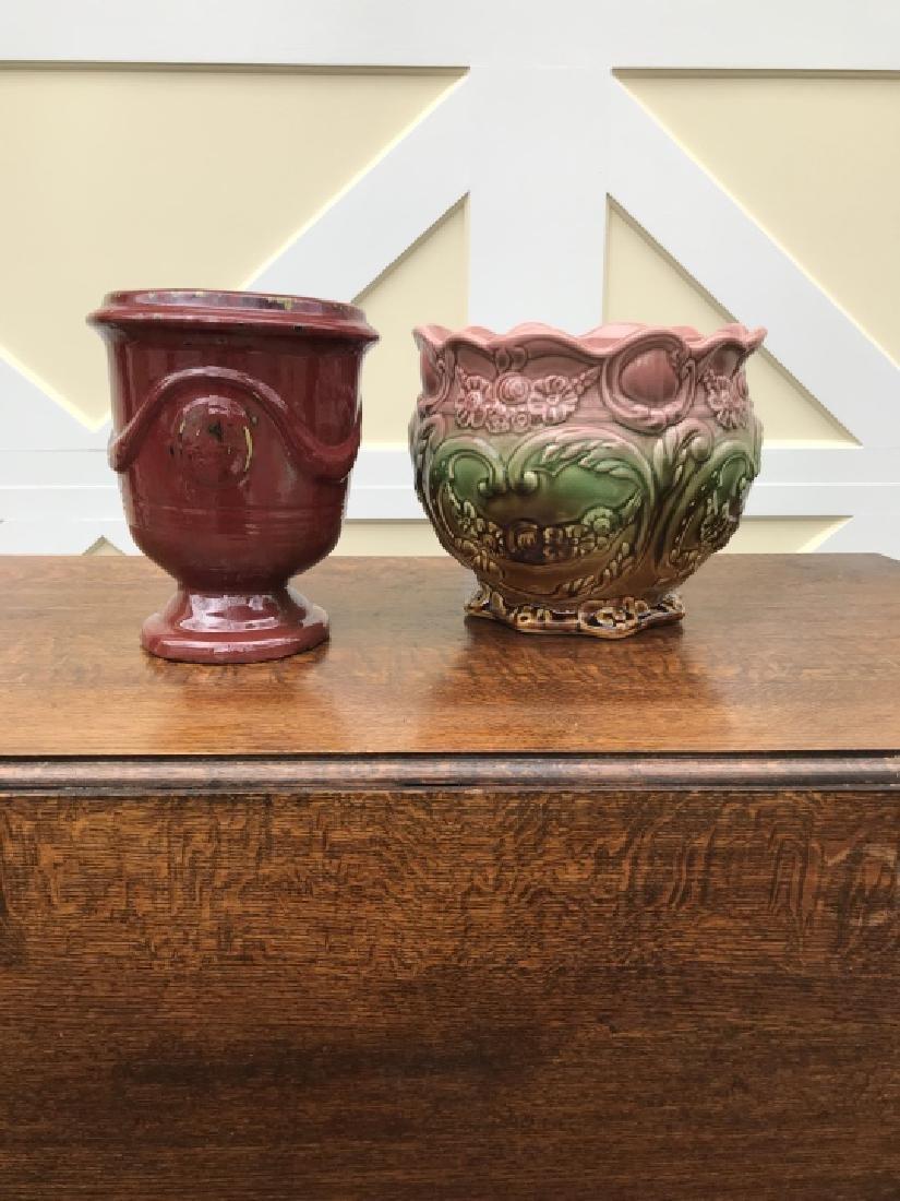 Majolica Cache Pot & Neo Classical Urn Form Pot - 3