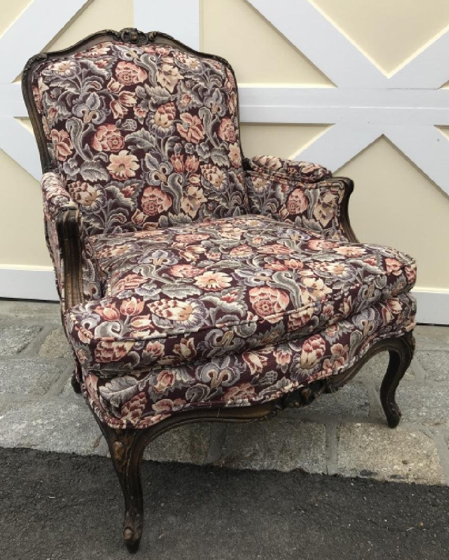 French Country Carved Frame Tapestry Armchair