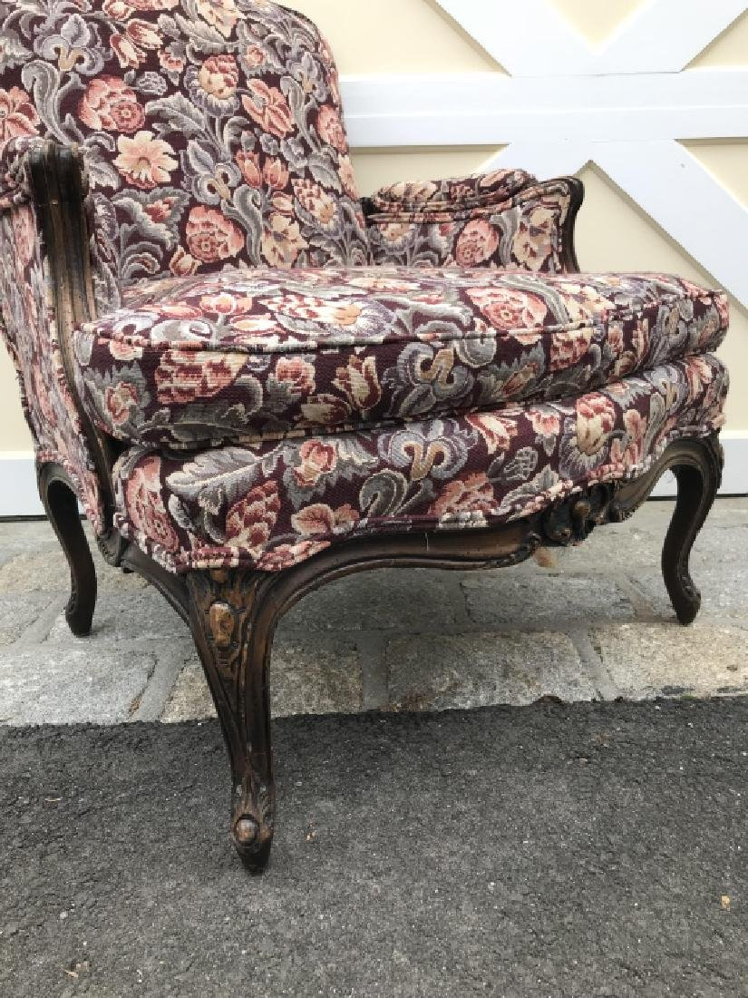 French Country Carved Frame Tapestry Armchair - 2