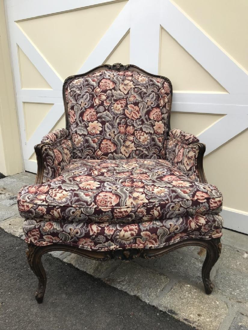 French Country Carved Frame Tapestry Armchair - 3