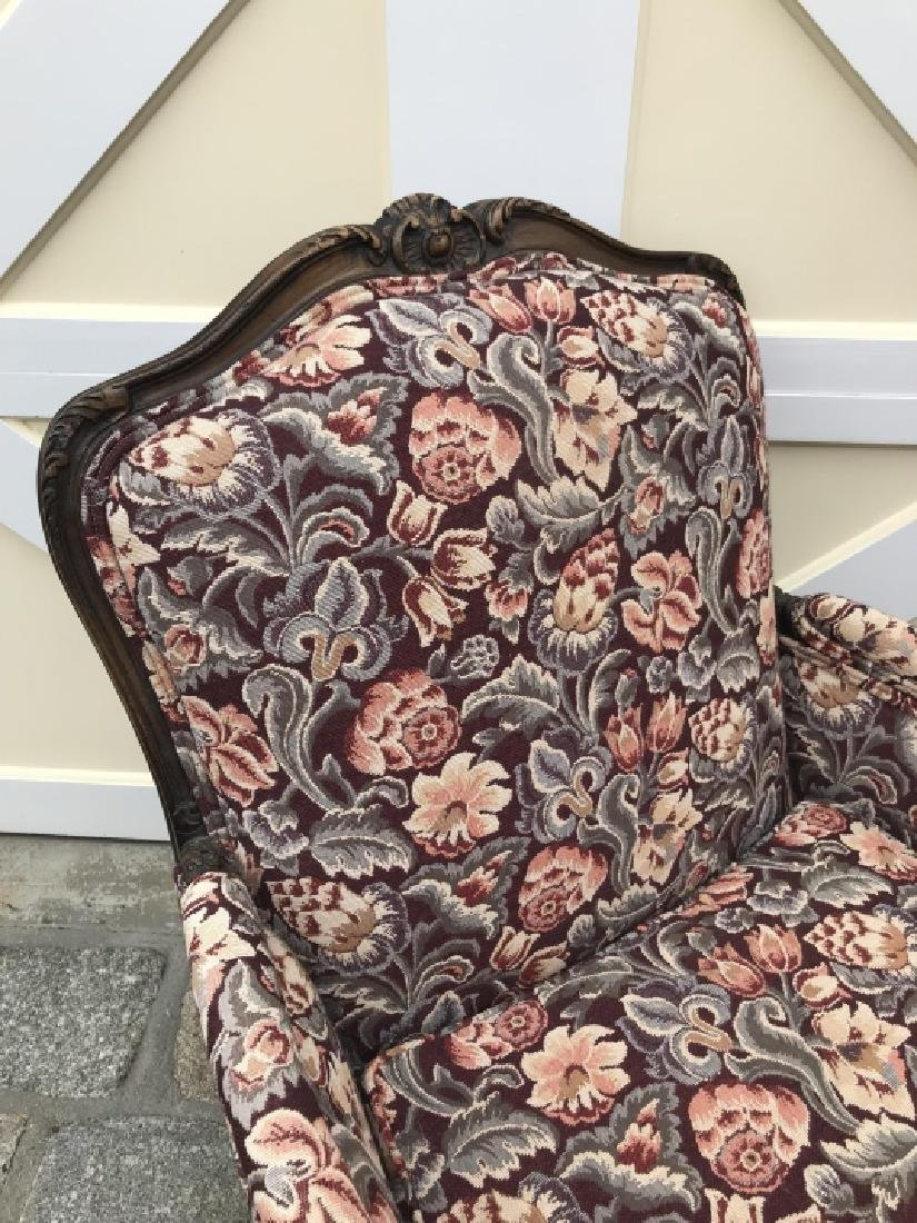 French Country Carved Frame Tapestry Armchair - 6