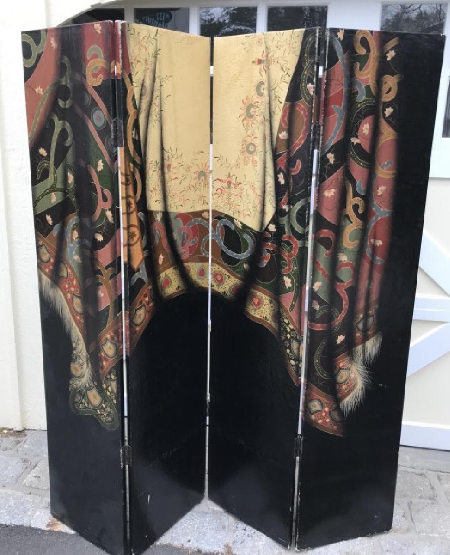 Hand Painted Oriental Carpet Motif 4 Panel Screen