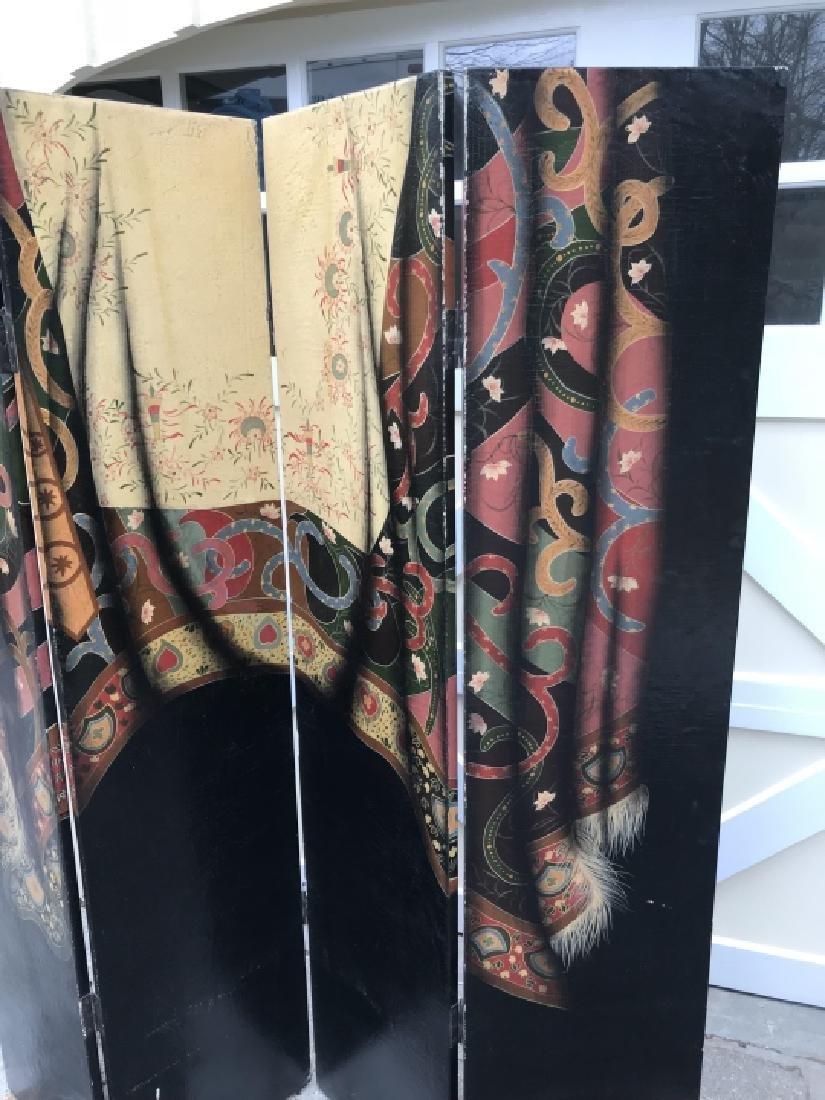 Hand Painted Oriental Carpet Motif 4 Panel Screen - 3