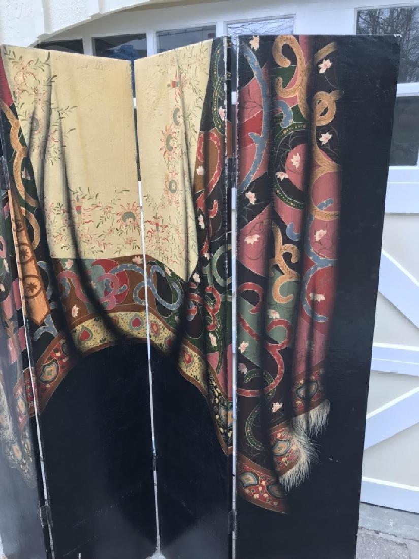 Hand Painted Oriental Carpet Motif 4 Panel Screen - 4