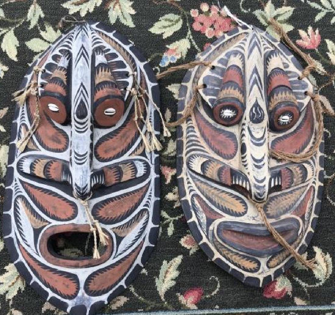 Pair Hand Carved & Hand Painted Papua New Guinea