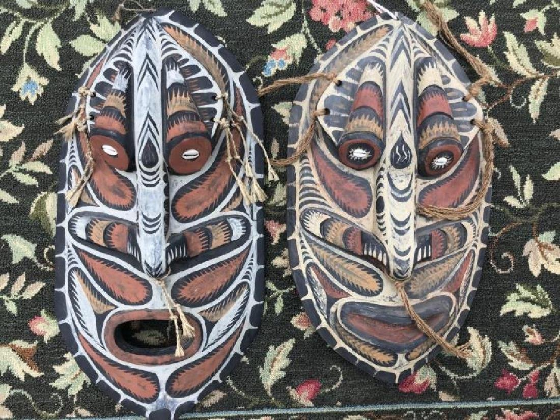 Pair Hand Carved & Hand Painted Papua New Guinea - 4