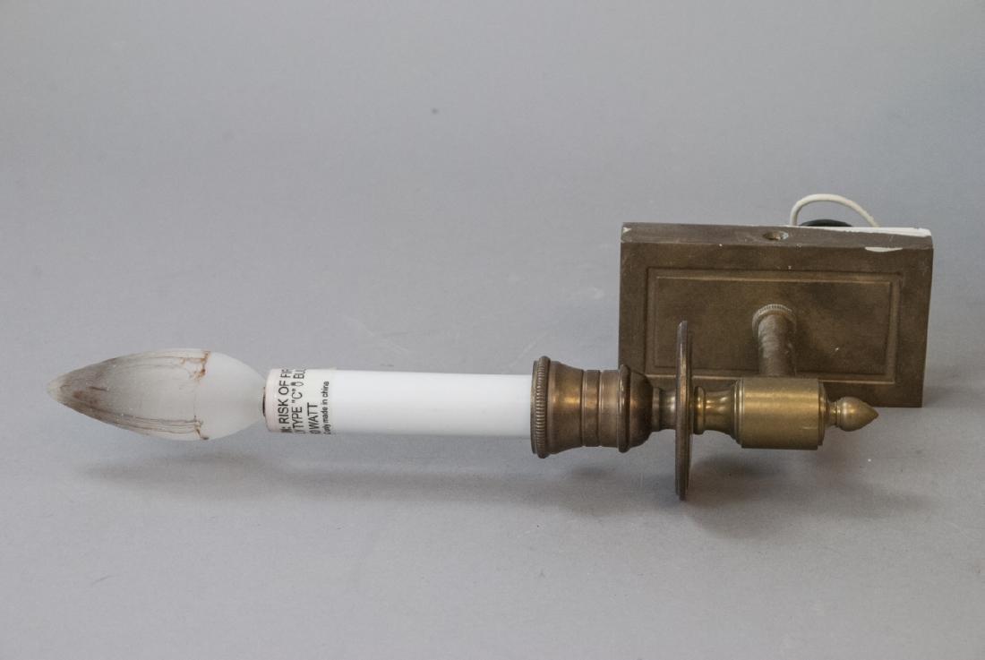 Pair Brass Sconces & Pendant Milk Glass Light - 2