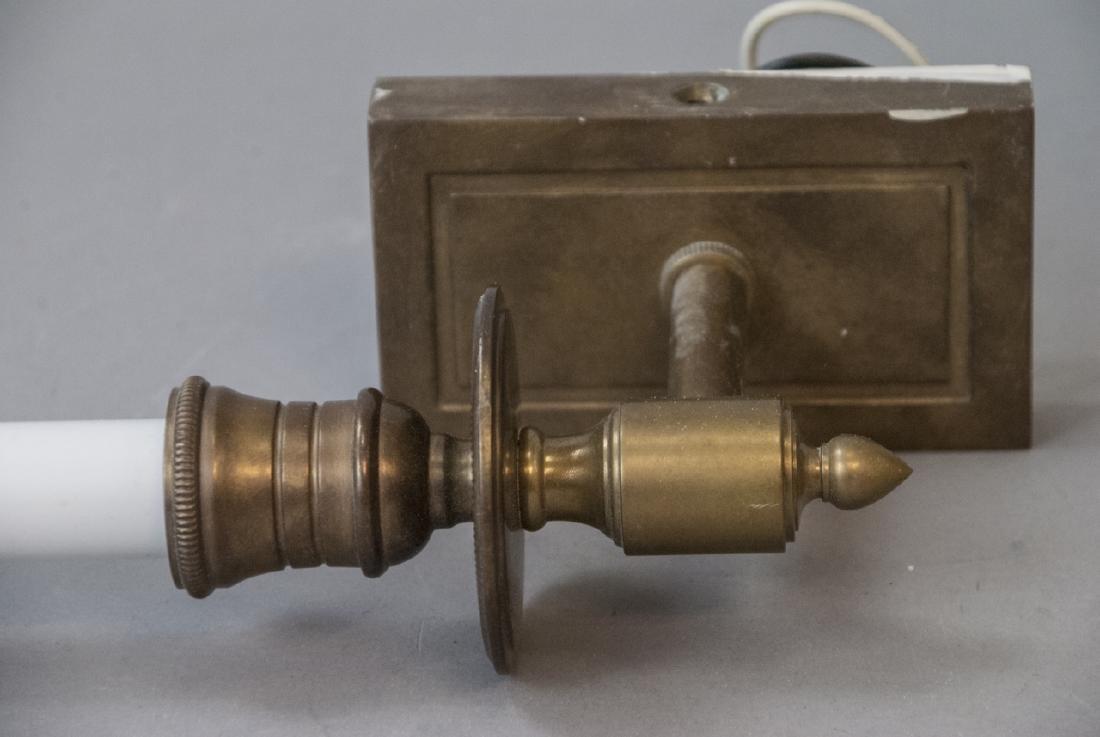 Pair Brass Sconces & Pendant Milk Glass Light - 3