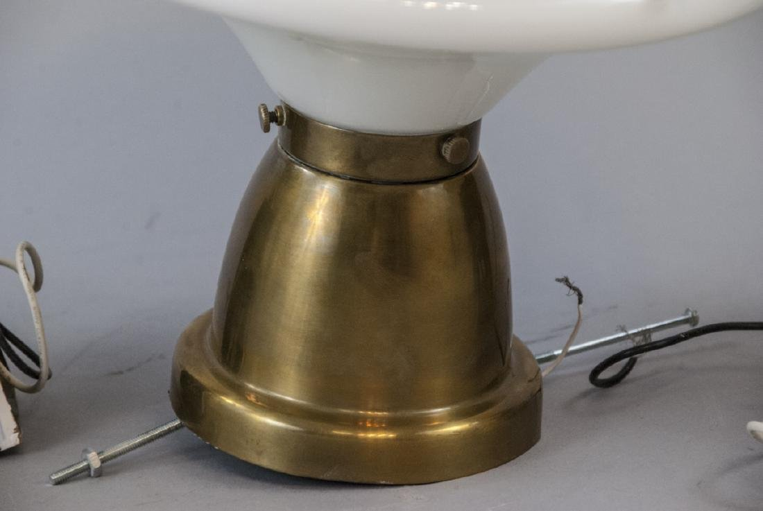 Pair Brass Sconces & Pendant Milk Glass Light - 5