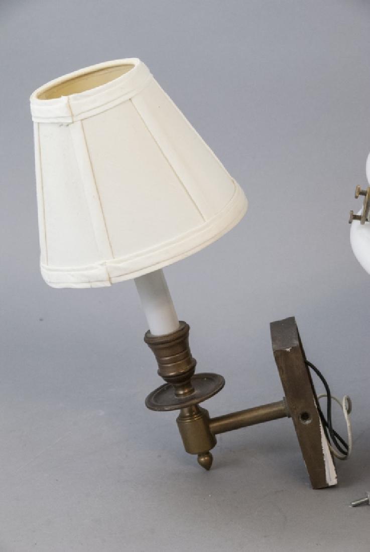 Pair Brass Sconces & Pendant Milk Glass Light - 8