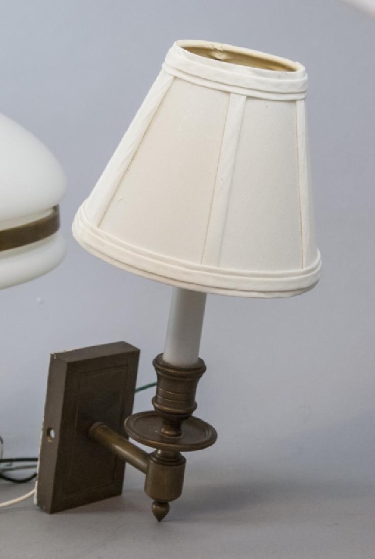 Pair Brass Sconces & Pendant Milk Glass Light - 9