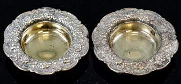 Pair Antique Tiffany  Co Sterling Silver Salts