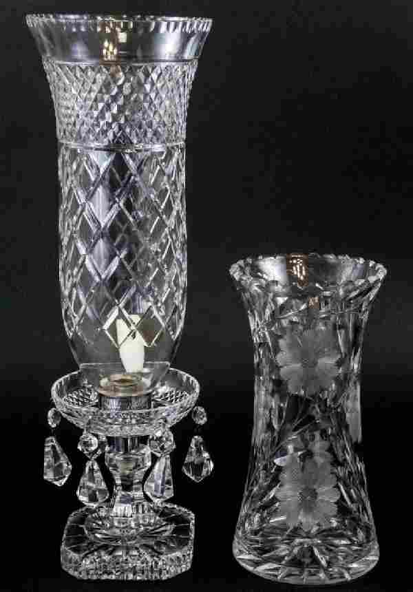 Crystal Hurricane and Brilliant Cut Crystal Vase
