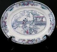 Antique English 19th C Chinese Pattern Platter