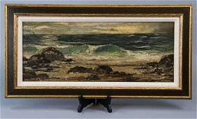 Antique 19 C Oil Painting on Board Seascape