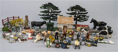 Lot of Antique Hand Painted Toy Figures Farming