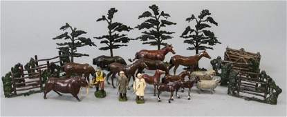 Lot of Antique Hand Painted Toy Figures Ranching