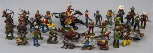Antique Toy Figures Cowboys Native Americans