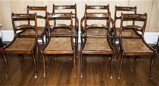 19C Regency Rosewood Dining Chairs Brass Inlay  8