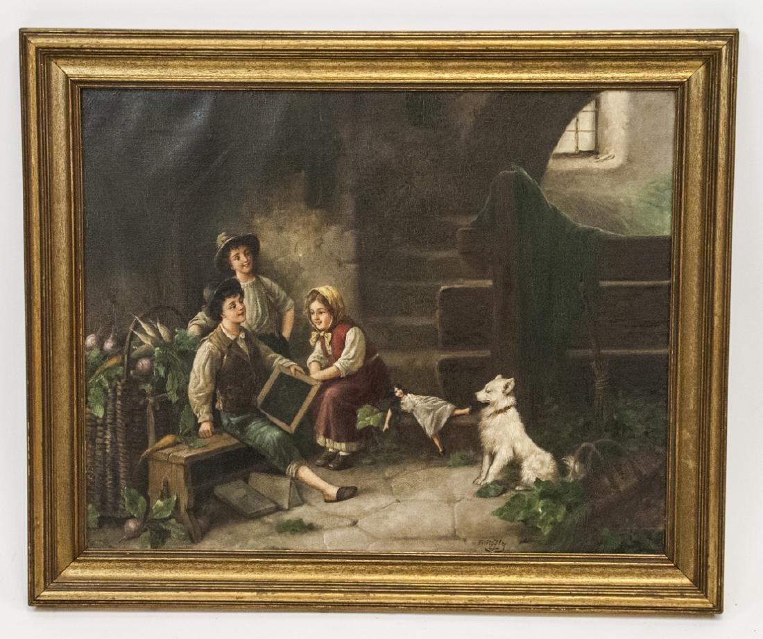 Fritz Fig 19th C Oil Painting Interior Genre Scene