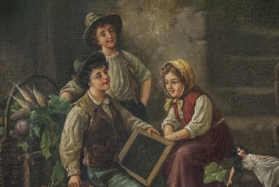 Fritz Fig 19th C Oil Painting Interior Genre Scene - 2