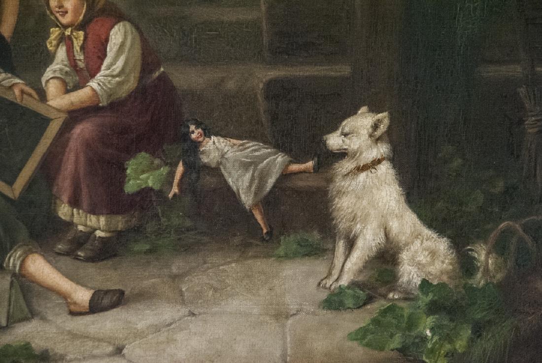 Fritz Fig 19th C Oil Painting Interior Genre Scene - 3