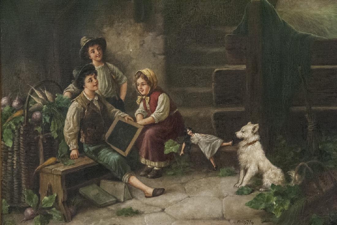 Fritz Fig 19th C Oil Painting Interior Genre Scene - 7