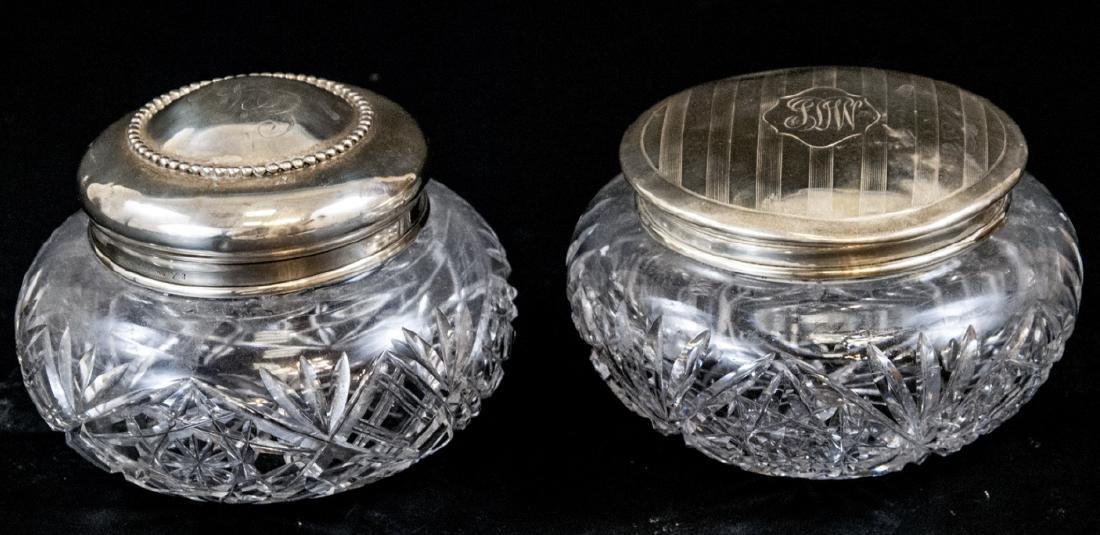 Two Antique Sterling Silver & Crystal Vanity Jars