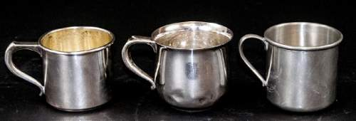 Three Vintage Sterling Silver  Pewter Baby Cups