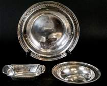 Two Sterling Silver Platters  One Serving Dish