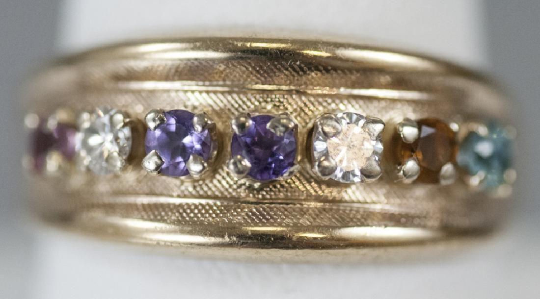 Vintage Yellow Gold Diamond & Gemstone Band Ring