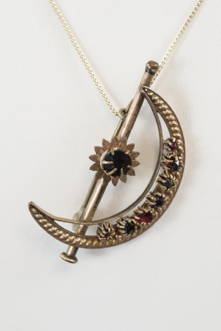 Antique Victorian Crescent Moon & Star Necklace