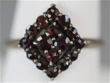 Antique 19th C Victorian Rose Cut Garnet Ring