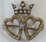 Antique 19th C Double Heart w Crown Gold Brooch