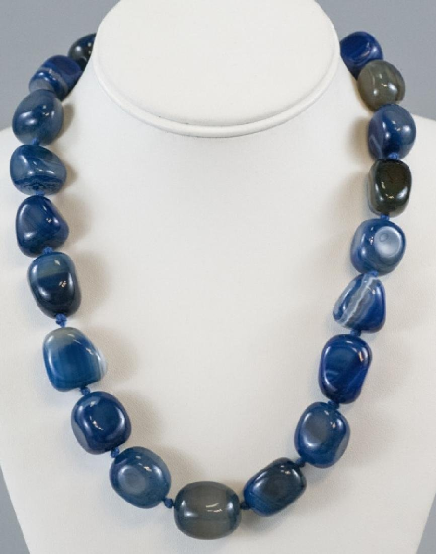 Specimen Agate Tumbled Bead Hand Knotted Necklace