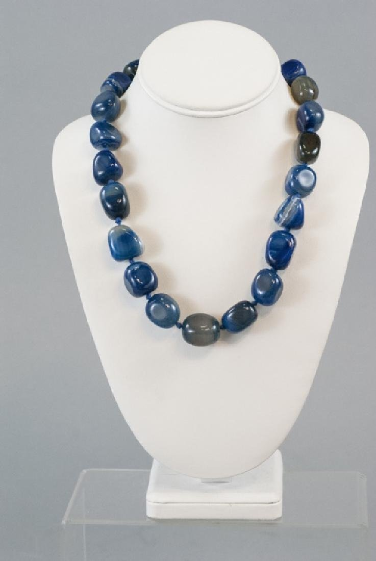 Specimen Agate Tumbled Bead Hand Knotted Necklace - 3