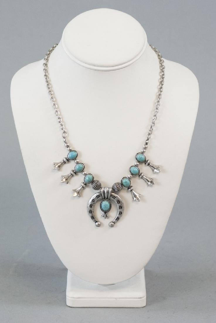 Native American Style Squash Blossom Form Necklace - 3