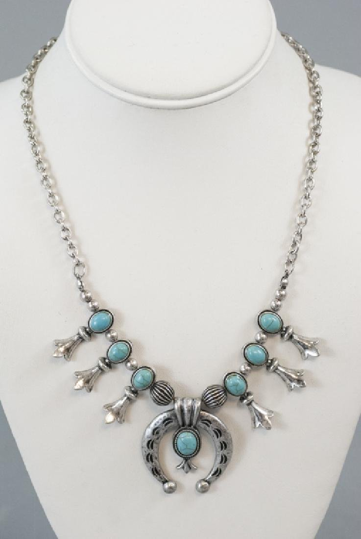 Native American Style Squash Blossom Form Necklace - 5