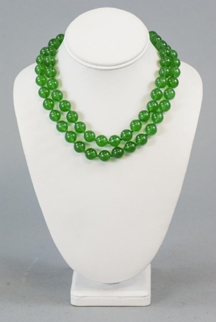 Pair of Carved Green Jade Necklace Strands - 2