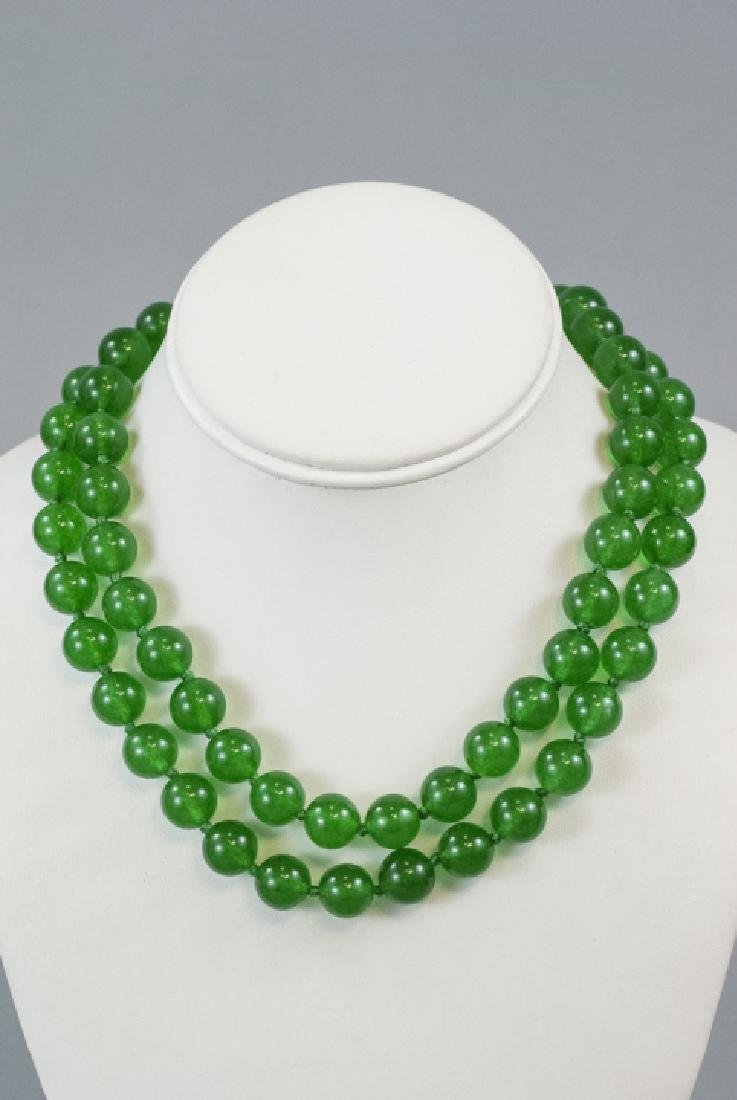 Pair of Carved Green Jade Necklace Strands - 3