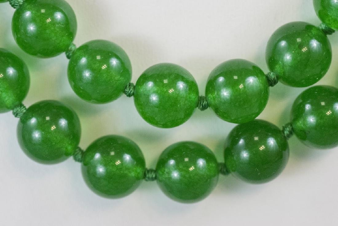 Pair of Carved Green Jade Necklace Strands - 4