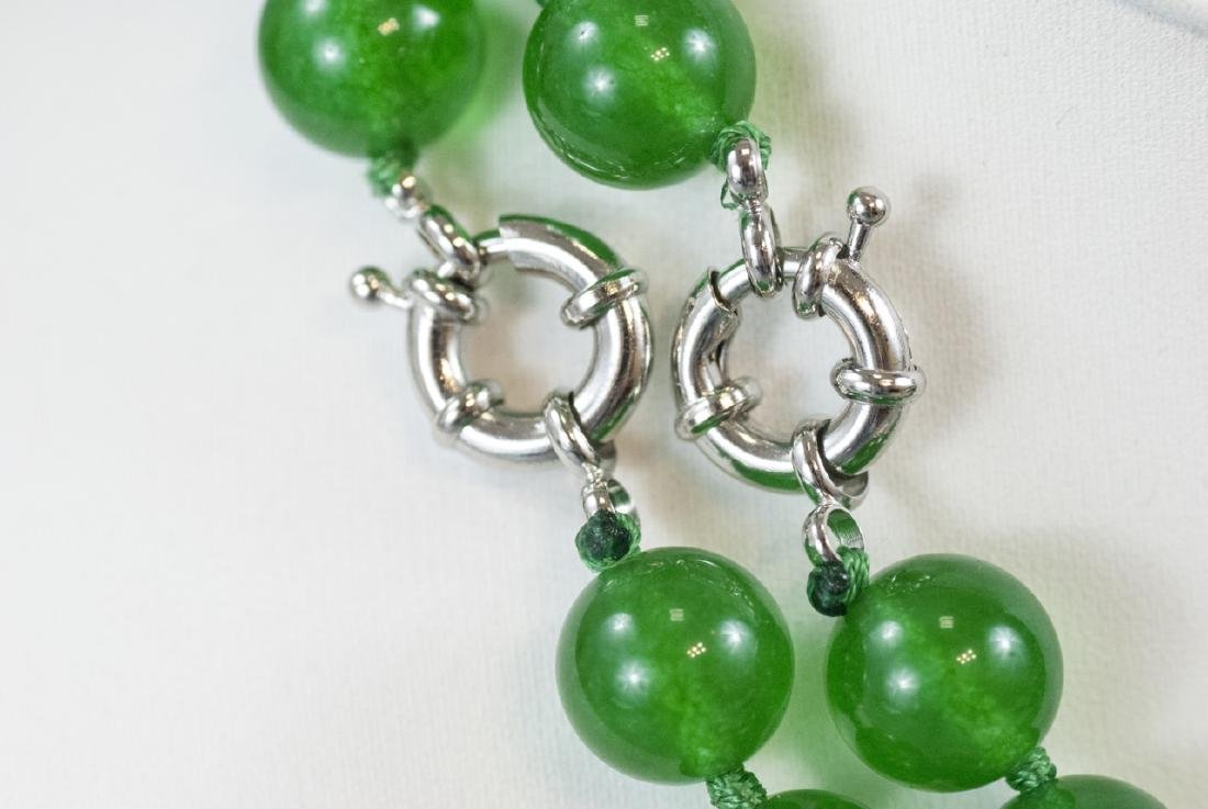 Pair of Carved Green Jade Necklace Strands - 5