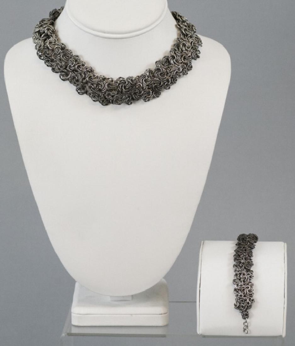 Woven Silver Rings Mesh Necklace & Bracelet Set