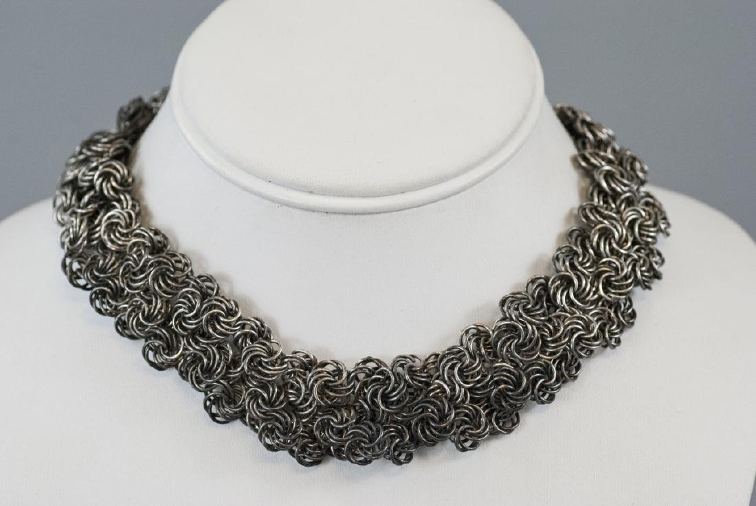 Woven Silver Rings Mesh Necklace & Bracelet Set - 2