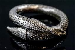 Vintage Mesh Metal Coiled Snake Bracelet
