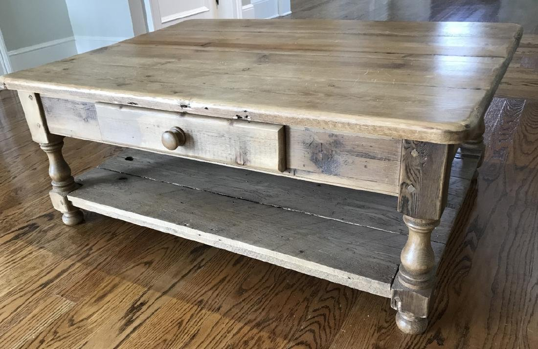 Antique Pine Wood Coffee Table w Drawer & Shelf